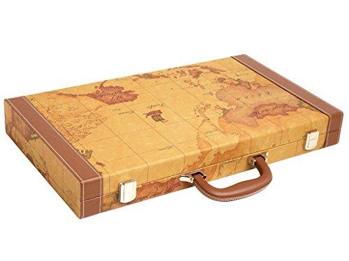 Luxus-Backgammon-Set auf Weltkarte, 18 Zoll – Braun