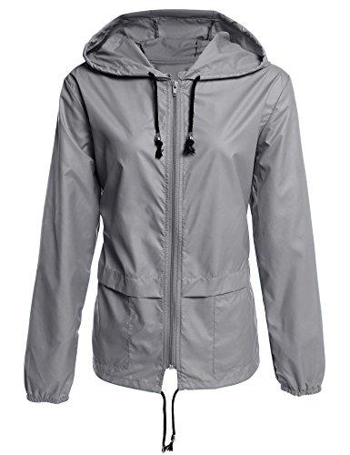 mymotto Damen Zusammenfaltbare Regenjacke Funktionsjacke Windjacke Mit Taschen vorne & Kapuze Wasserdicht Atmungsaktiv