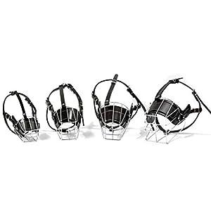 WEATLY Fournitures Chien Anti-Morsure Dispositif de ronflement en Cuir en Cuir de Fer Couverture de Chien Masque réglable Animaux de Compagnie