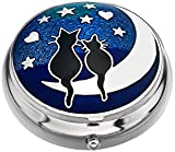 Pill Box - Cats on Moon Design - Enamelled Pewterware