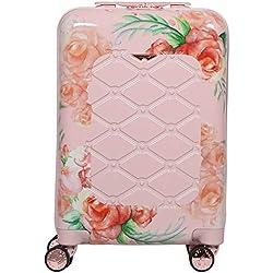 Aerolite Bagage Cabine Bagage à Main Valise Rigide Légere à 4 roulettes en Polycarbonate, pour Ryanair, easyJet, Air France et Plus, Floral Rose