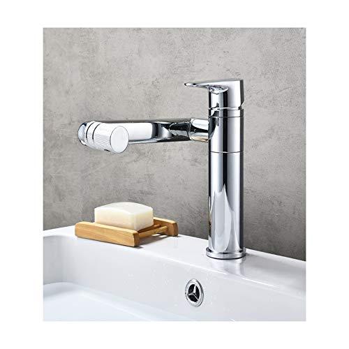PINCHU Bad 360-Grad-Drehung Waschbecken gegen heiße und kalte Waschbecken Mischbatterie montiert Abdeckung Chrom-Finish Waschtischarmatur -