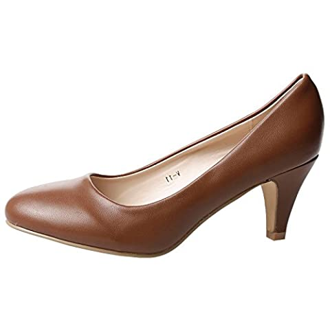 ByPublicDemand Leona Womens Mid Heel Slip On Court Shoe Brown Faux Leather 4 UK / 37 EU