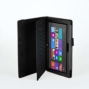 Kunstleder Tasche für Microsoft Surface Tablet Hülle Cover Case mit Aufsteller, Modell:Für Surface RT / 2;Farbe:Schwarz