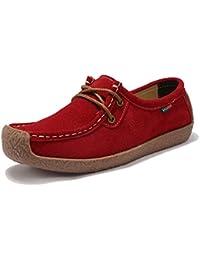 Z.SUO Mujer Mocasines de Cuero Moda Loafers Casual Zapatos de conducción  Zapatillas c365b23603b5