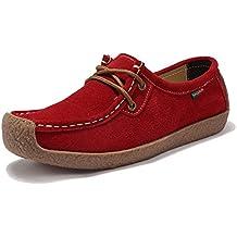 Z.SUO Mujer Mocasines de Cuero Moda Loafers Casual Zapatos de conducción Zapatillas