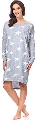 Italian Fashion IF Damen Nachthemd Star 0115 (Melange/Weiß, L)