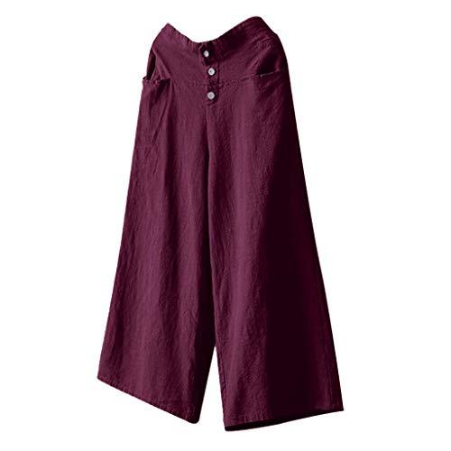 Luckycat Damen Leinenhose aus 100% Leinen leichte Sommerhose Tunnelbund mit Gummizug und 2 aufgesetzten Taschen vorne Damen Hosen Lang Weites Bein Sommerhose Gummibund Freizeithose mit Taschen Oshkosh Khaki