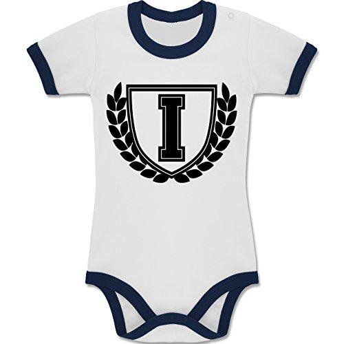 Shirtracer Anfangsbuchstaben Baby - I Collegestyle - 12-18 Monate - Weiß/Navy Blau - BZ19 - Zweifarbiger Baby Strampler für Jungen und Mädchen