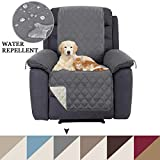 Sofa Covers Water Repellent Reversible Recliner Cover Recliner Chair Slipcover Recliner Protector, 2' Elastic Straps, Quilted Furniture Cover for Kids, Dogs, Cats, Pets (Recliner: Grey/Beige)