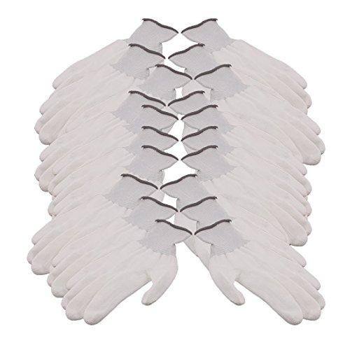 MiKi&Co 10 Paar 13 Nadeln Nylon Arbeits Schutz Anti-statische Rutschfeste Handschuhe Grau Weiß -