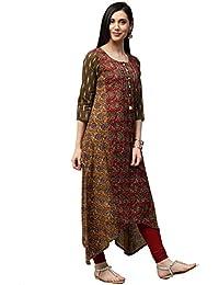 "Jaipur Kurti Women Multicolor Fusion Of Prints Embroidered Straight Fit 52"" Length Cotton & Cotton Kantha Kurta"