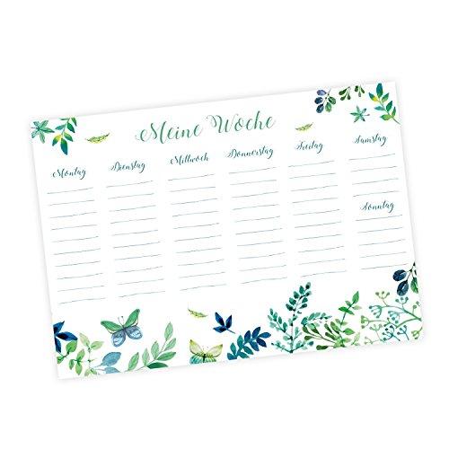 k 50 Blatt Floral - Notizblock Wochenkalender Planer Schreibtisch Organisieren Kalligrafie Abreißblock blau Aquarell Wasserfarben ()