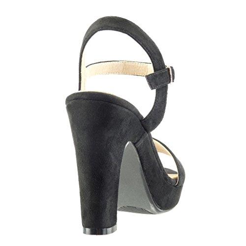 Angkorly Damen Schuhe Sandalen Pumpe - Plateauschuhe - Sexy - String Tanga - Schleife Blockabsatz High Heel 11 cm Schwarz