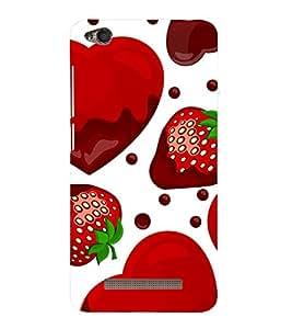 Strawberry Heart 3D Hard Polycarbonate Designer Back Case Cover for Redmi 4 :: Xiaomi 4