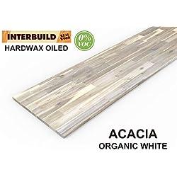 Plans de travail en bois massif Acacia Interbuild, 2200x635x26 mm, Blanc organique, 1 pièce/paquet