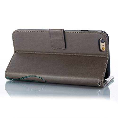iPhone 6/6S Leather Case,iPhone 6/6S Coque Portefeuille,Hpory élégant Fashion 3D Design Colorful Painted with Lanyard PU Cuir Case Book Style Folio Stand Fonction Support PU Leather Walllet Case with  Gris, Fleur