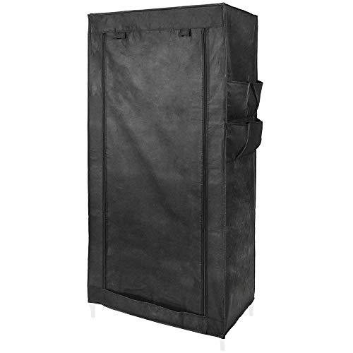PrimeMatik - Armario ropero guardarropa de Tela Desmontable 70 x 45 x 155 cm Negro con Puerta Enrollable...