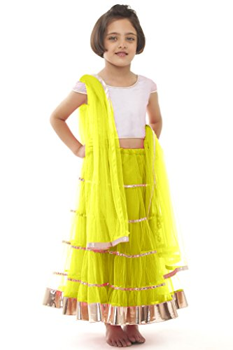 new arrival designer yellow net partywear kids lehenga choli (32 inches)  available at amazon for Rs.264