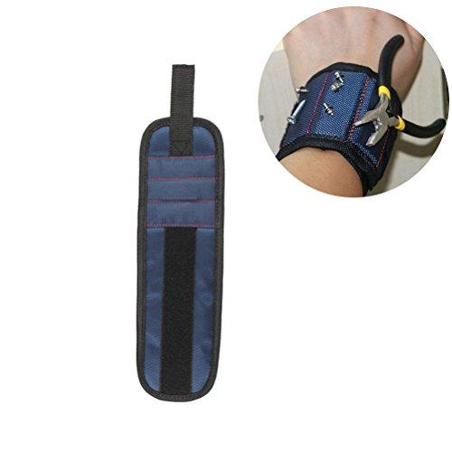 bestomz pulsera banda magnética para Aéreo clavos tornillos y brocas de taladro ajustable de azul