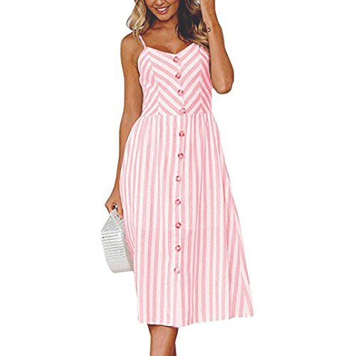 Maxikleider Sommer,SANFASHION SANFASHION Damen Mode Sommerknöpfe Striped Off Schulter Ärmelloses Prinzessin Kleid (S, RosaB)
