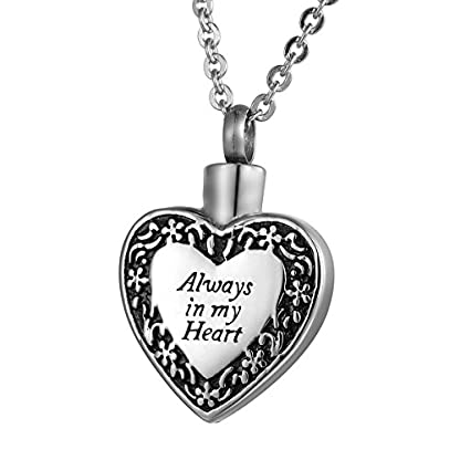ZCBRISK Always in My Heart Flower Cremation Ashes Locket Necklace Urns Pendant Memorial Keepsake Jewelry 2