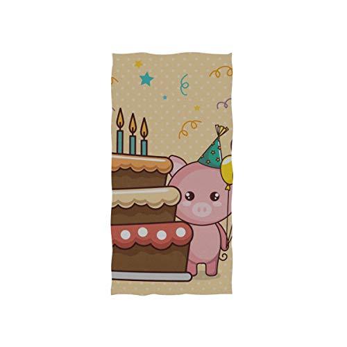 Enhusk Kawaii Schwein Kuchen Geschenk Weiche Spa Strand Badetuch Fingertip Handtuch Waschlappen Für Baby Erwachsene Bad Strand Dusche Wrap Hotel Travel Gym Sport 30x15 Zoll (Benutzerdefinierte Luftballons Billig)