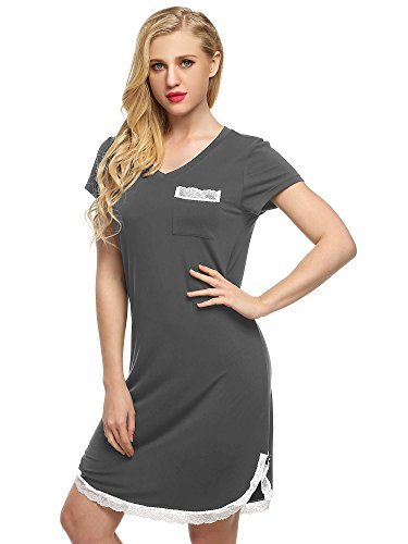 Ekouaer Sleep Shirts Ladies Nightwear Long Lounging wear Plus Size(Gray, XL)