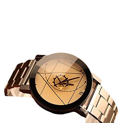 Moda orologio uomo in acciaio quarzo analogico orologio da polso orologio in acciaio inox quarzo di sport militare cinturino in pelle orologio da uomo morwind (bianco)