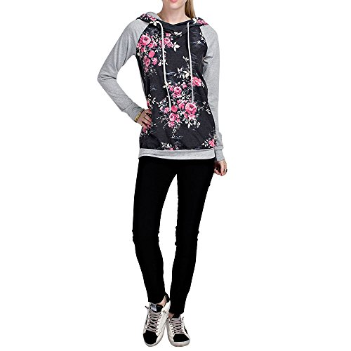 Kinikiss Damen Bluse Elegant Langarm Herbst Winter Geblümt Pullover Sweatshirts mit Kapuze Dunkelgrau