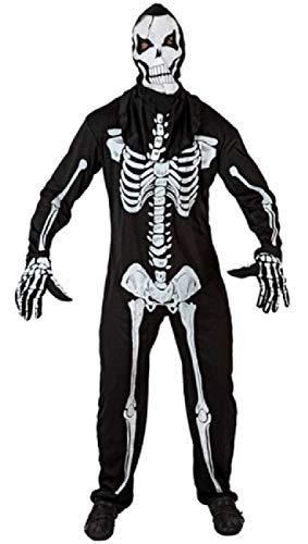 Skelett für Herren, Schwarz/Weiß, Gruselig, TV-Buch-Film, Halloween-Kostüm, XS-XXL ()