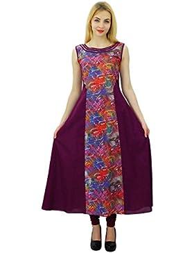 Phagun diseñador de las mujeres del estampado de flores Kurti vestido de la túnica étnico algodón de la tapa