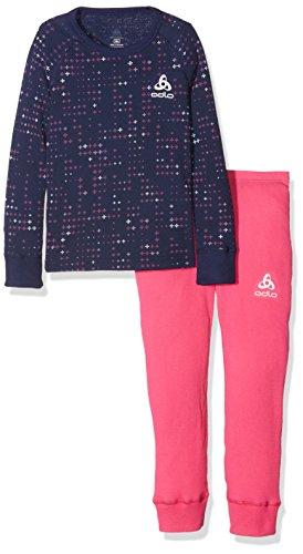 Odlo Kinder Set WARM Kids Shirt l/s Pants Long Skiunterwäsche, Beetroot Purple - Peacoat 164