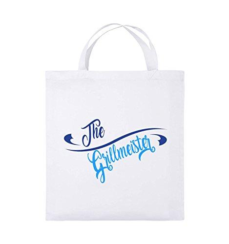 Comedy Bags - The Grillmeister - Jutebeutel - kurze Henkel - 38x42cm - Farbe: Schwarz / Weiss-Hellblau Weiss / Royalblau-Hellblau