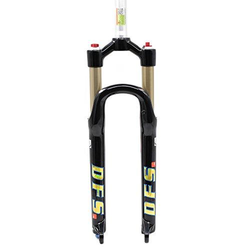 """Luftgabel Fahrrad Federgabel Fahrradgabel - DFS-RLC Air Suspension Fork 26"""" & 27,5"""" für Mountain Bike Mountainbike Cityräder Rennräder Trekkingräder E-Bikes Schwarz Weiß (Schwarz, 26"""")"""