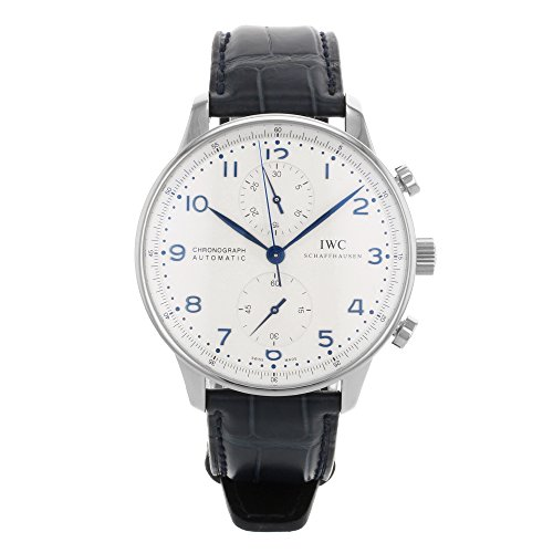 iwc-mens-portugieser-blue-leather-band-steel-case-automatic-silver-tone-dial-analog-watch-iw371446