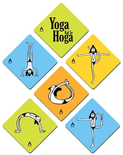 Axta Yoga Poses Design Coaster (Pastel, Standard Size) - Set of 6