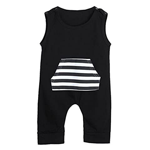 Igemy Newborn Infant Baby Kids Boys Sleeveless Stripe Romper Jumpsuit