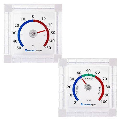 Lantelme 6445 Fenster Hygrometer und Thermometer Set - Analoge Temperatur und Luftfeuchte Anzeige - zum Ankleben am Fenster leicht fluoreszierend