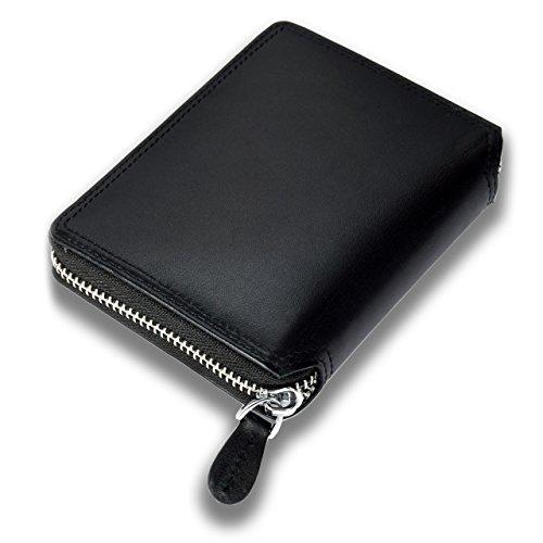 Lackingone Portafoglio Uomo Classico di Grande Capacità con 18 Tasche in Vera Pelle di Qualità con Cerniera Lampo e Protezione RFID/NFC Minimalista