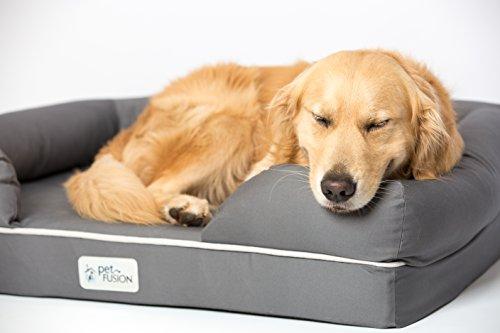 PetFusion Hundebett und -Lounge. Premium Edition aus stabilem Kaltschaum mit Memory-Effekt (Grau, 92 x 71 x 23 cm) – [Ersatzbezüge erhältlich] - 5