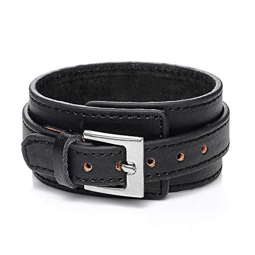 Daxey - Punk Männer Schmuck Geflochtenem Leder Armband Edelstahl magnetischer Haken Art und Weise Armbänder 18,5/22 / 20,5 cm [Stil Ein Schwarz ()