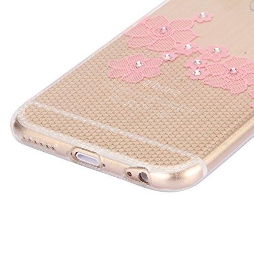 SainCat Coque Apple iphone 6 Plus/6s Plus,Housse Retour Hard Case Silicone Transparent Bumper Skin Shell,Brilliant Effect de Protection Pare-Chocs Complete Protecteurs,iPhone 6 Plus Transparente Clair fleur texturé