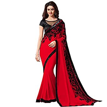 Janasya Georgette Saree (Jne0891(886.Red)_Red)