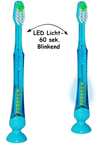 """Zahnbürste - """" NEON TÜRKIS blau """" - LED Licht - mit 1 Minute Timer Funktion & Saugnapf - Kinder & Baby / hochwertige Borsten - Kinderzahnbürste & Babyzahnbürste - für Kinder / Jungen & Mädchen - zum Hinstellen / leuchtend & blinkend - Zahnputzuhr / Putztrainer - Zähne putzen - elektrisch & Batterie betrieben - Kleinkinder / transparent - Zahnbürsten / Zähneputzen lernen"""