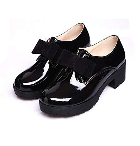 Frauen Lackleder Schuhe Mode Bowtie Einfarbig Schnüren Runde Kappe Dicken Boden Einzelnen Schuhe Plus Größe 42 Britischen Damen Derby Schuhe