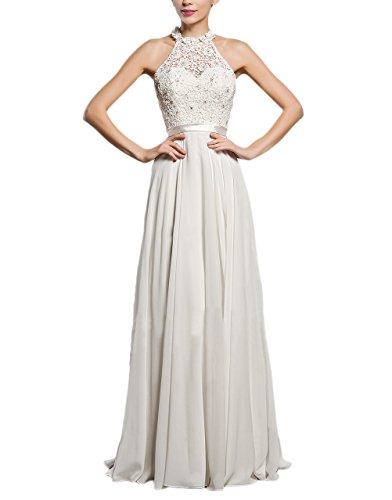 Damen Abendkleider Lang Elegant Spitze Spleiß Chiffon Hochzeitskleid Ärmellos Cocktailkleid...