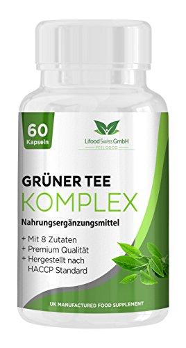 Lifood Swiss Grüner Tee Komplex, Mit 8 Zutaten, 60 Vegetarische Kapseln, 69 - Extrakt Bohnen Kaffee Vitamine