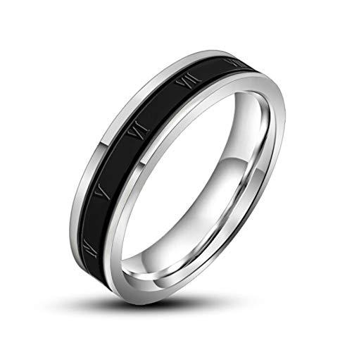Aeici Edelstahlringe Herren Ip Center mit Schwanzring mit Römischen Ziffern Ringe Silber Schwarz 65 (20.7) Ringe Herren