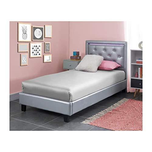 LUCIE Lit enfant contemporain simili argent + sommier et tete de lit capitonnée avec LED - l 90 x L 190 cm